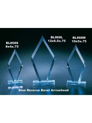 Blue Reverse Bevel Arrowhead Award